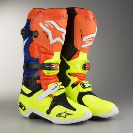 Alpinestars LICHIDARE STOC Cizme Tech10 Aktion Orange/Blue/Yellow